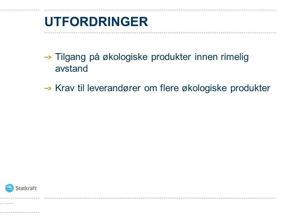 UTFORDRINGER Tilgang på økologiske produkter innen rimelig avstand