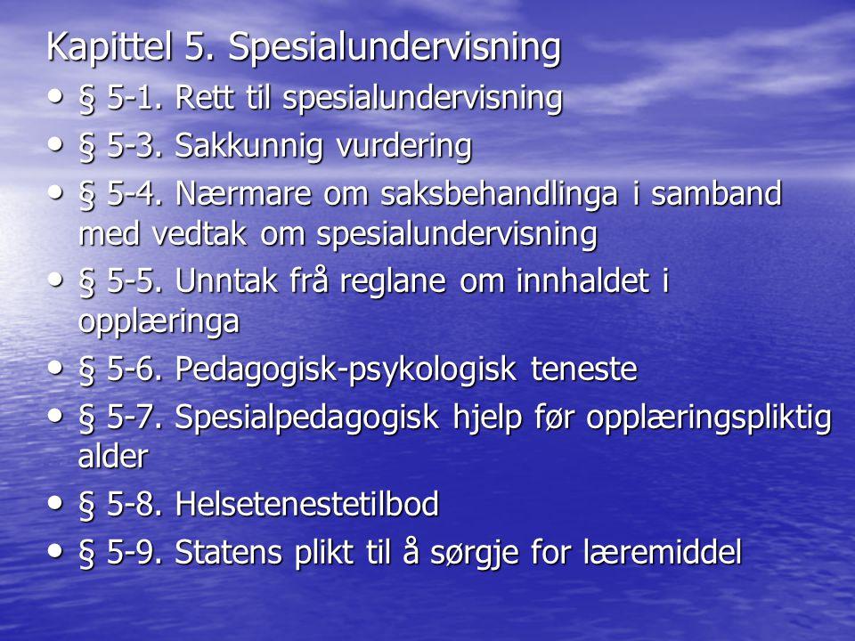 Kapittel 5. Spesialundervisning