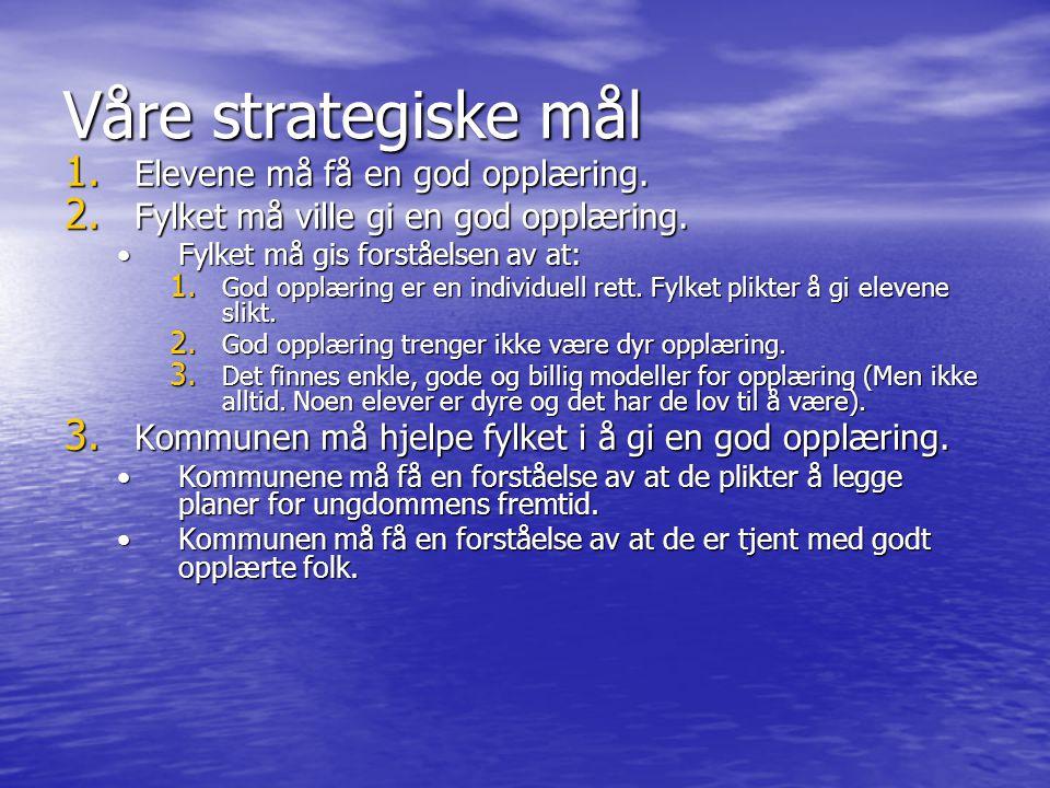Våre strategiske mål Elevene må få en god opplæring.