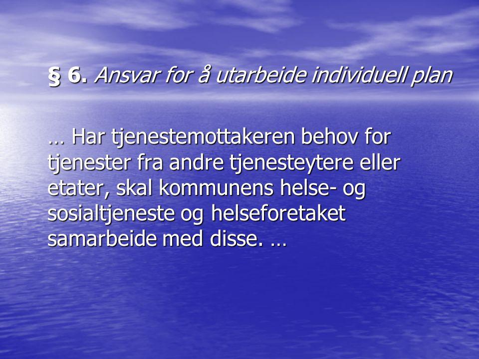§ 6. Ansvar for å utarbeide individuell plan