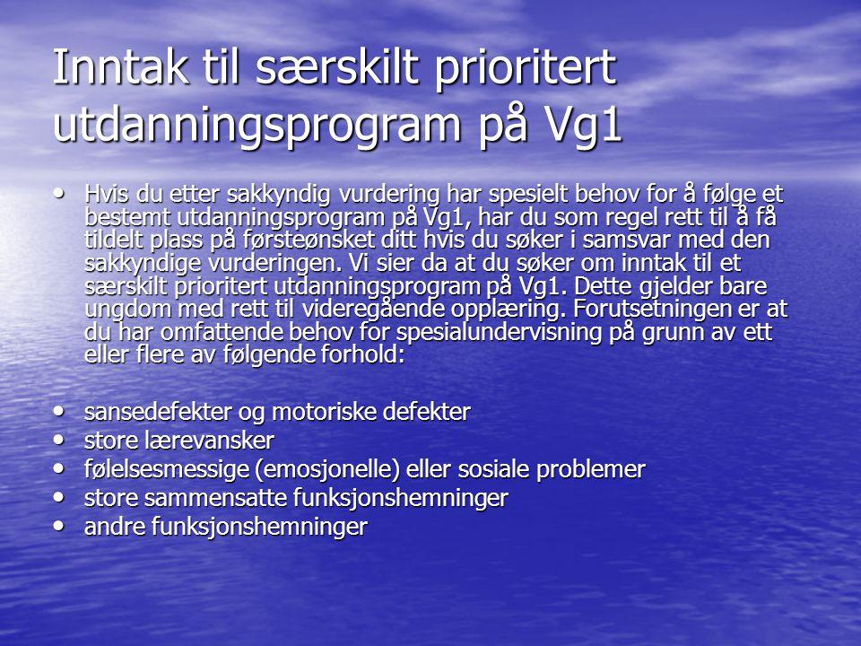 Inntak til særskilt prioritert utdanningsprogram på Vg1