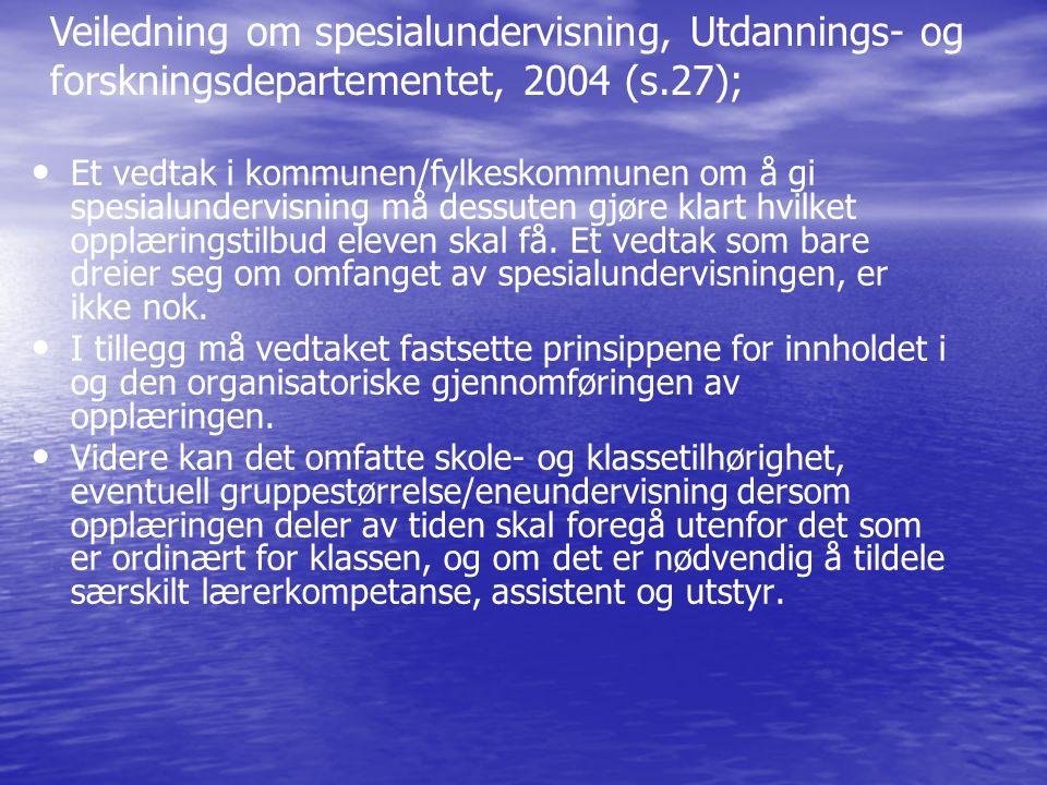Veiledning om spesialundervisning, Utdannings- og forskningsdepartementet, 2004 (s.27);
