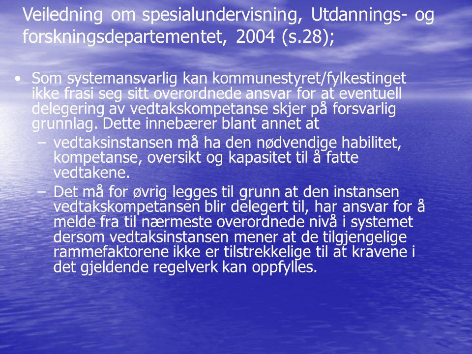 Veiledning om spesialundervisning, Utdannings- og forskningsdepartementet, 2004 (s.28);