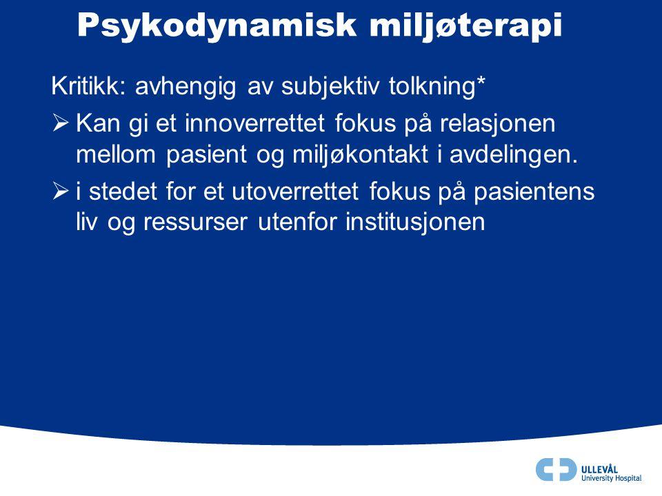 Psykodynamisk miljøterapi