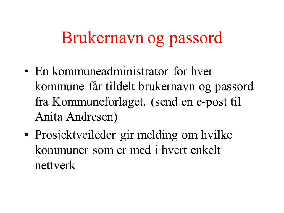 Brukernavn og passord
