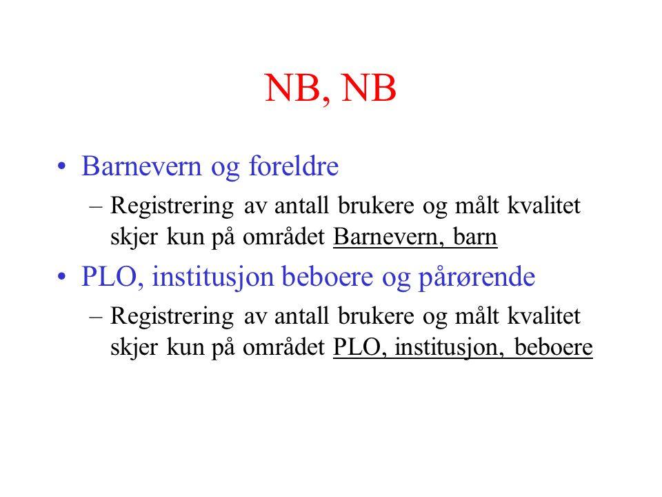 NB, NB Barnevern og foreldre PLO, institusjon beboere og pårørende