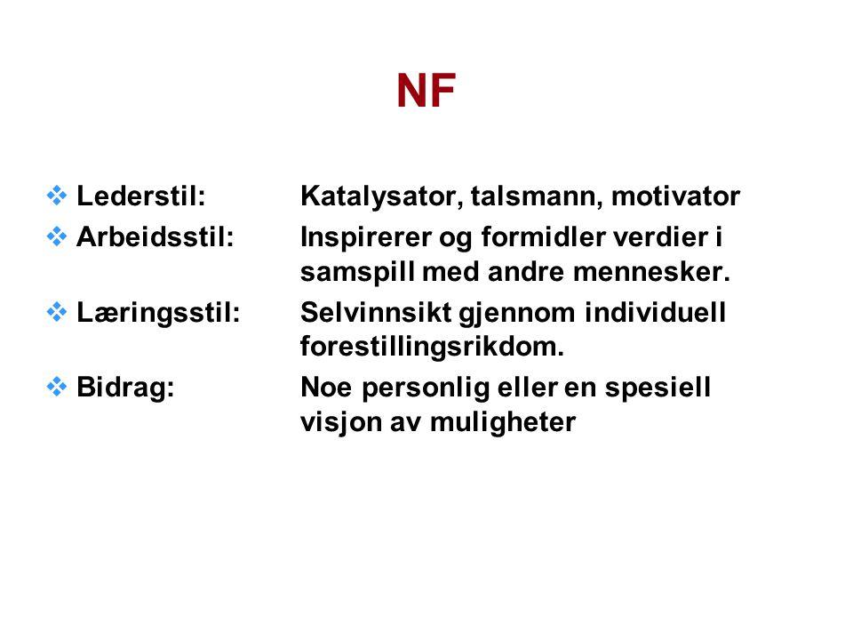 NF Lederstil: Katalysator, talsmann, motivator