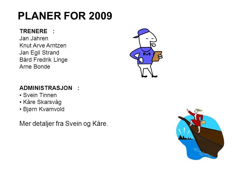 PLANER FOR 2009 Mer detaljer fra Svein og Kåre. TRENERE : Jan Jahren