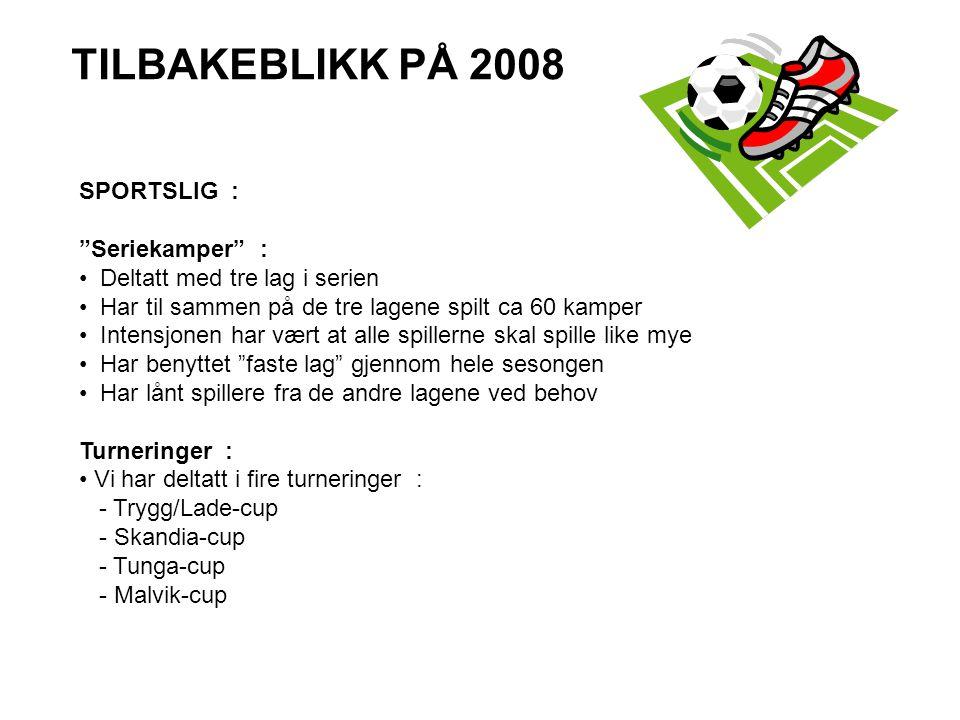 TILBAKEBLIKK PÅ 2008 SPORTSLIG : Seriekamper :