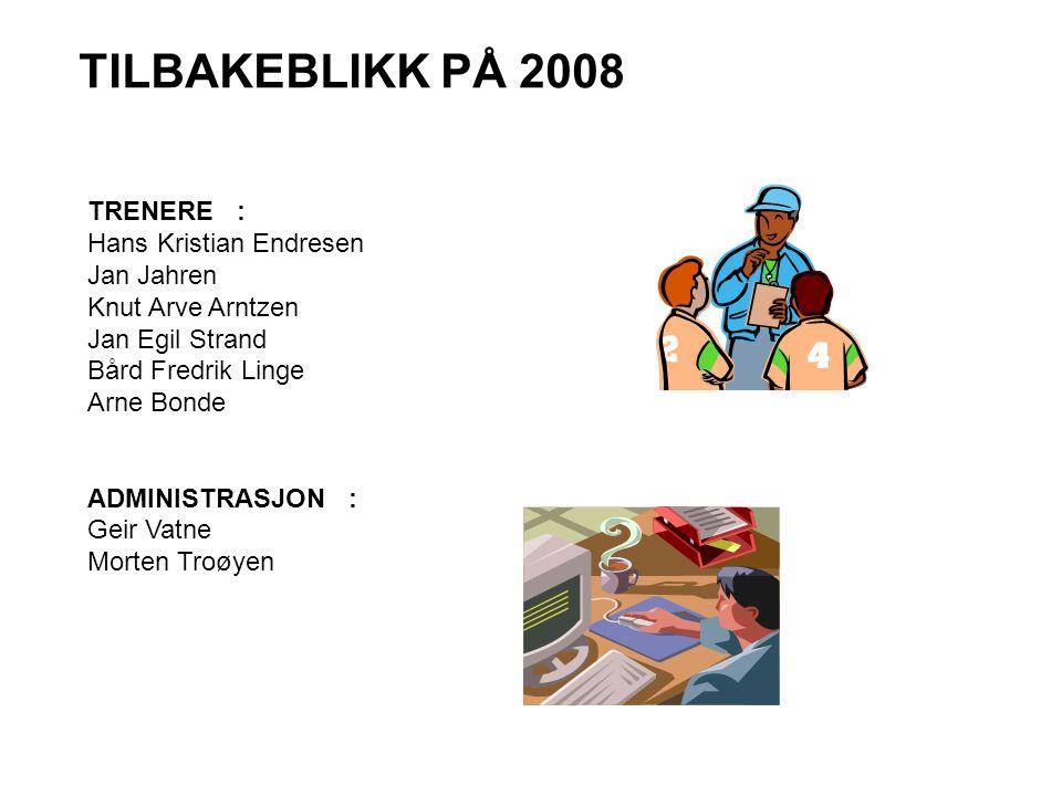 TILBAKEBLIKK PÅ 2008 TRENERE : Hans Kristian Endresen Jan Jahren