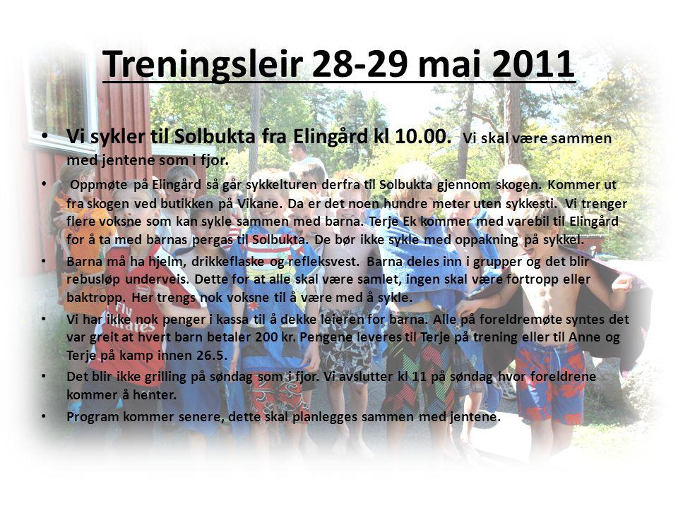 Treningsleir 28-29 mai 2011 Vi sykler til Solbukta fra Elingård kl 10.00. Vi skal være sammen med jentene som i fjor.