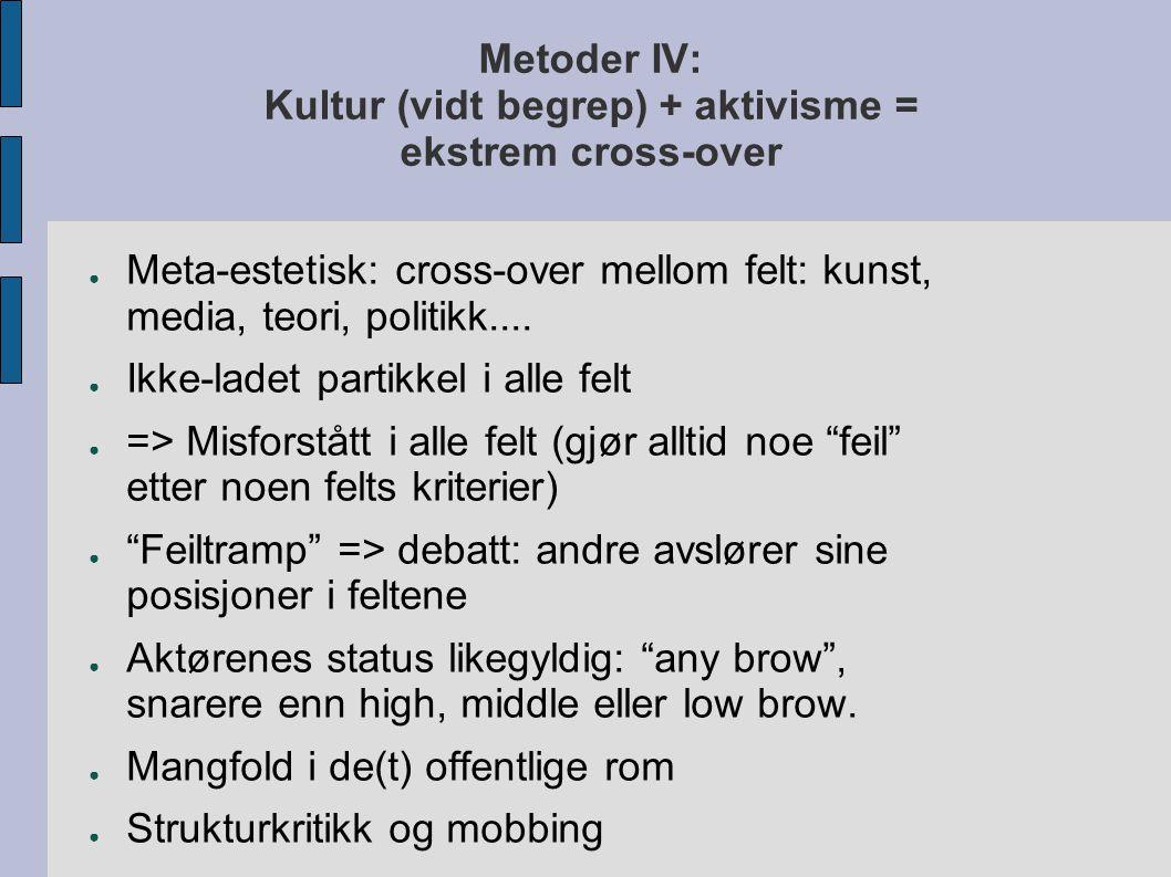 Metoder IV: Kultur (vidt begrep) + aktivisme = ekstrem cross-over