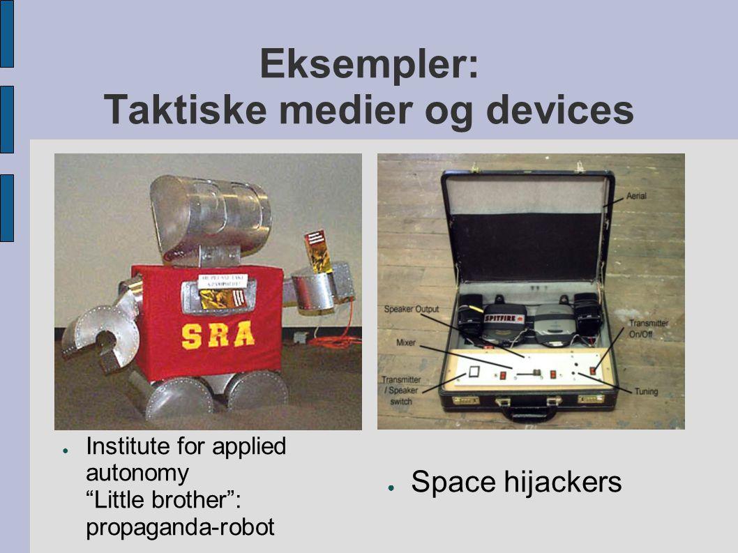 Eksempler: Taktiske medier og devices
