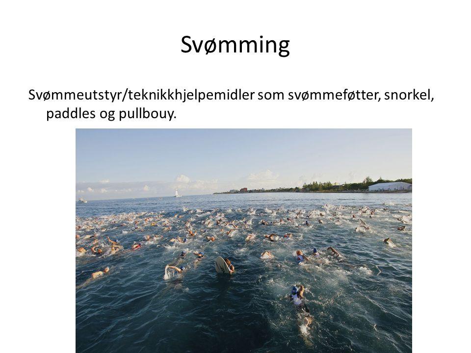 Svømming Svømmeutstyr/teknikkhjelpemidler som svømmeføtter, snorkel, paddles og pullbouy.