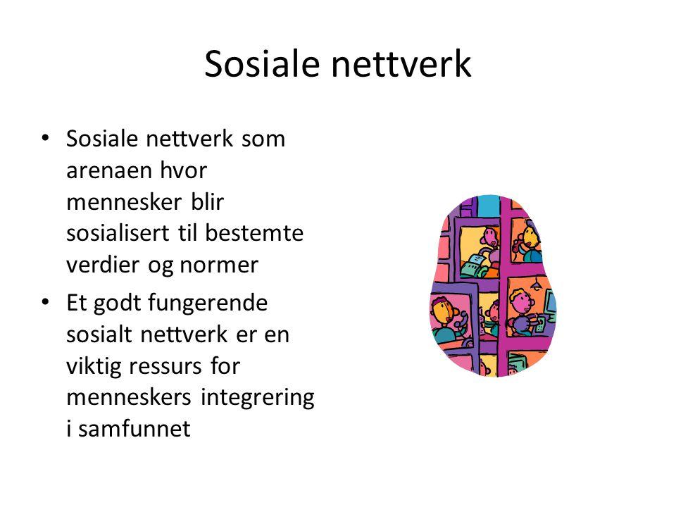 Sosiale nettverk Sosiale nettverk som arenaen hvor mennesker blir sosialisert til bestemte verdier og normer.