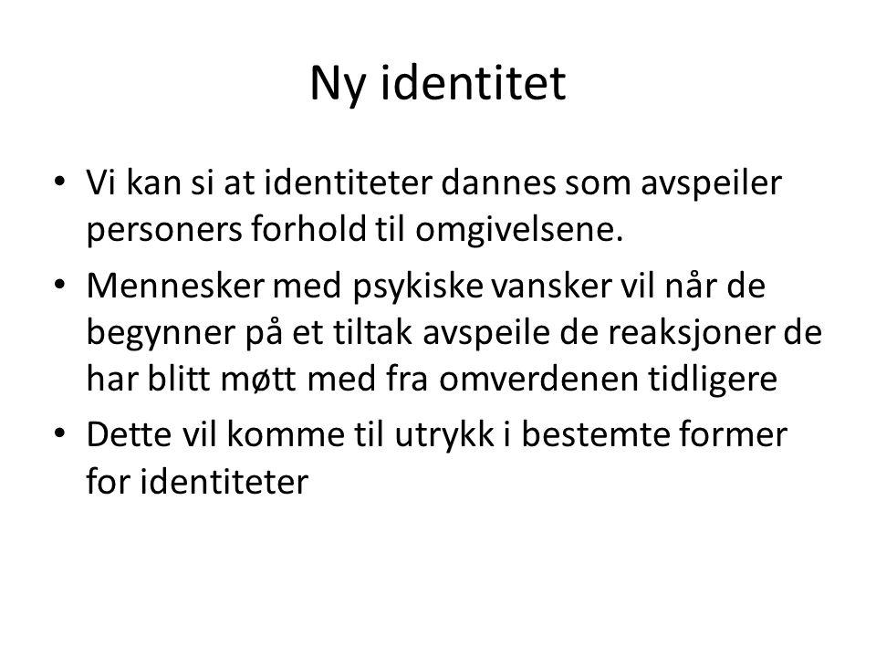 Ny identitet Vi kan si at identiteter dannes som avspeiler personers forhold til omgivelsene.