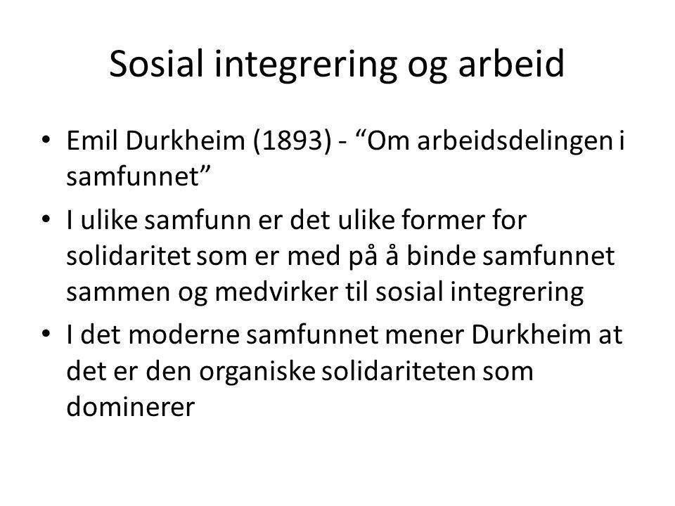 Sosial integrering og arbeid