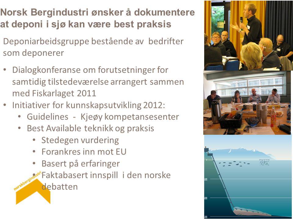 Norsk Bergindustri ønsker å dokumentere at deponi i sjø kan være best praksis