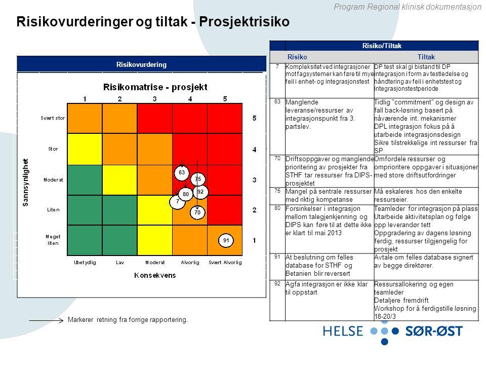 Risikovurderinger og tiltak - Prosjektrisiko