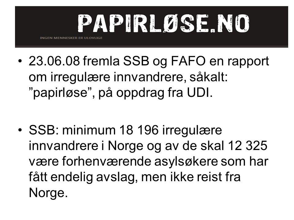 23.06.08 fremla SSB og FAFO en rapport om irregulære innvandrere, såkalt: papirløse , på oppdrag fra UDI.