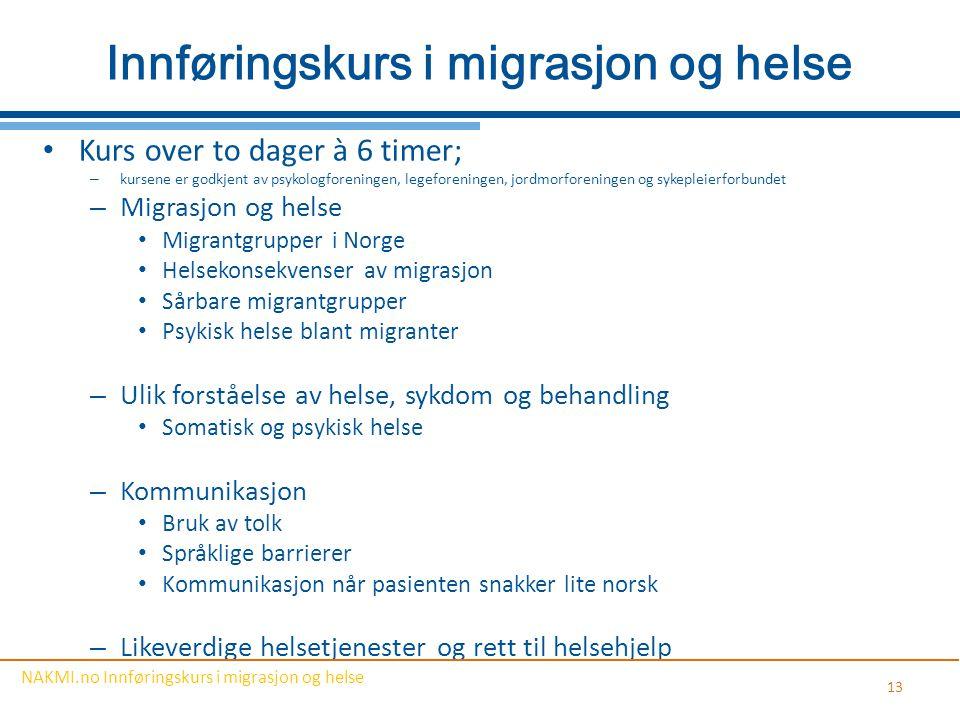Innføringskurs i migrasjon og helse