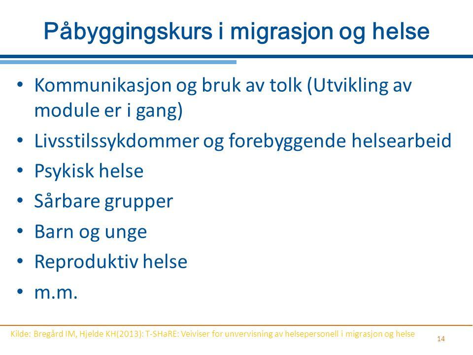 Påbyggingskurs i migrasjon og helse