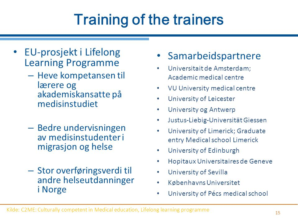 Training of the trainers
