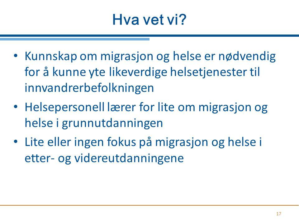 Hva vet vi Kunnskap om migrasjon og helse er nødvendig for å kunne yte likeverdige helsetjenester til innvandrerbefolkningen.