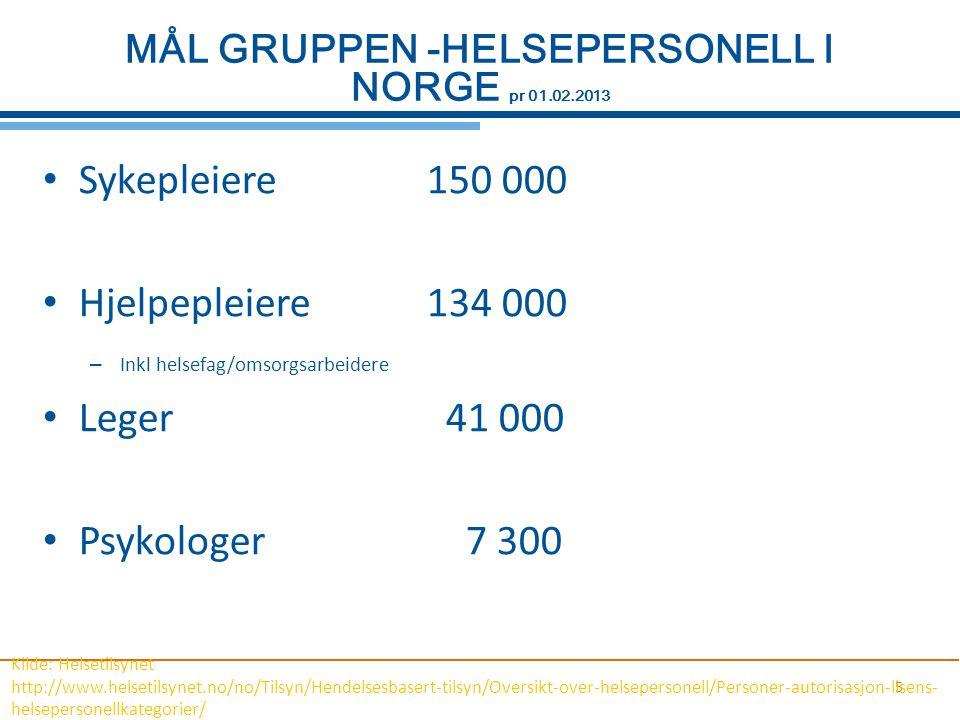 MÅL GRUPPEN -HELSEPERSONELL I NORGE pr 01.02.2013