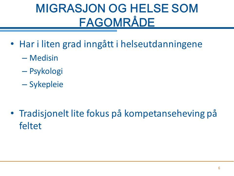 MIGRASJON OG HELSE SOM FAGOMRÅDE