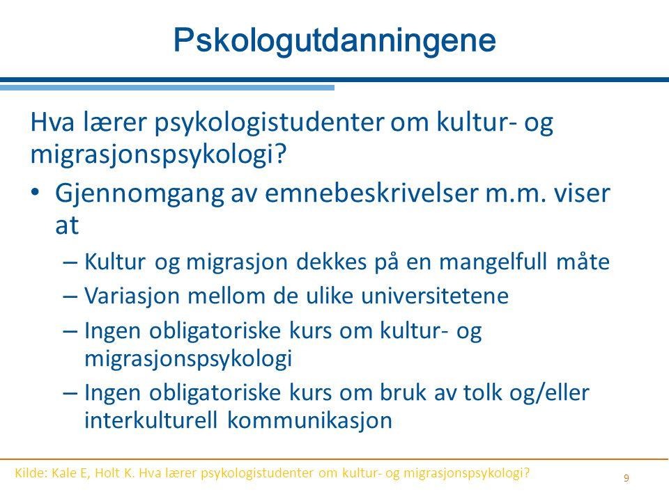 Pskologutdanningene Hva lærer psykologistudenter om kultur- og migrasjonspsykologi Gjennomgang av emnebeskrivelser m.m. viser at.