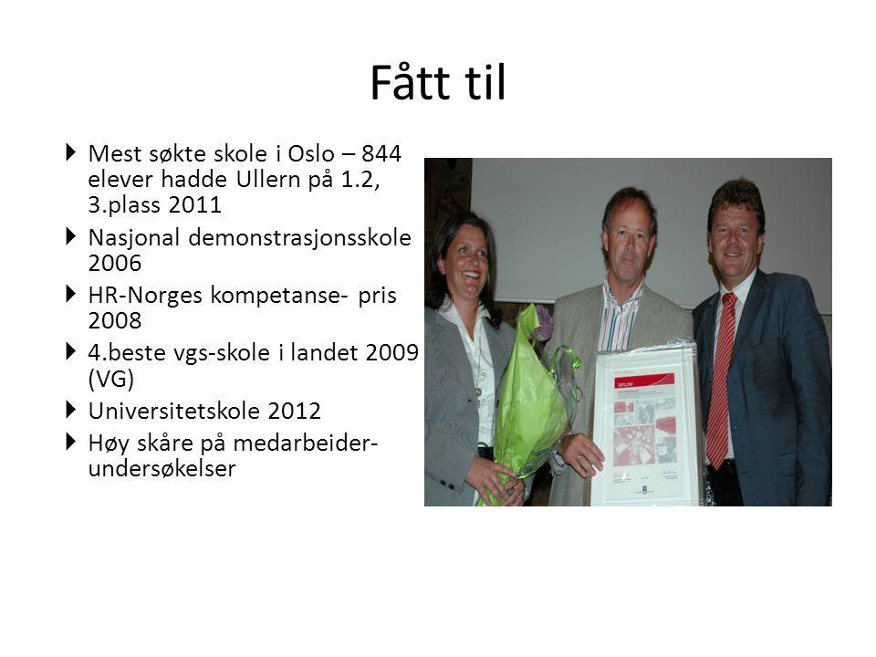Fått til Mest søkte skole i Oslo – 844 elever hadde Ullern på 1.2, 3.plass 2011. Nasjonal demonstrasjonsskole 2006.
