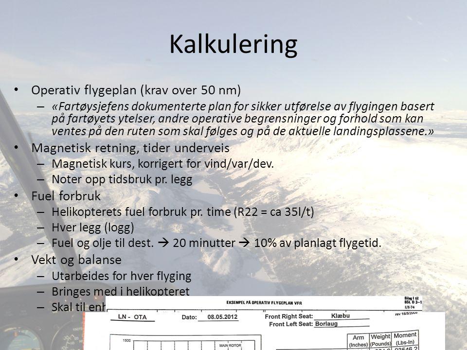 Kalkulering Operativ flygeplan (krav over 50 nm)