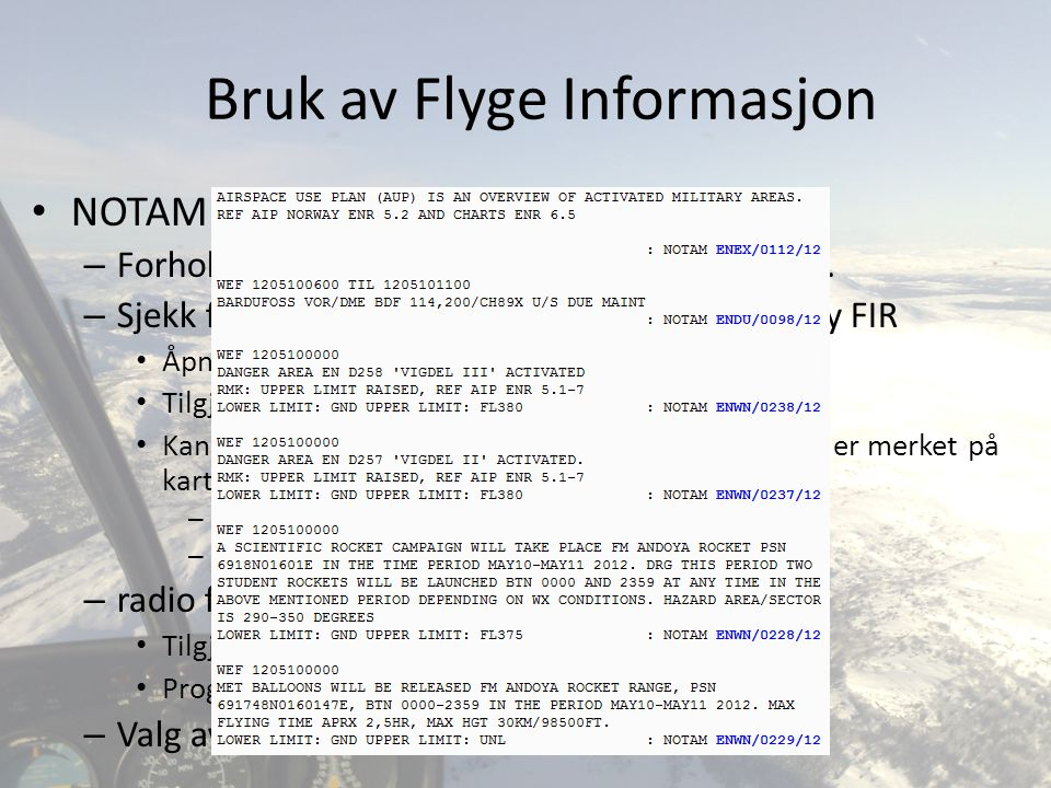 Bruk av Flyge Informasjon