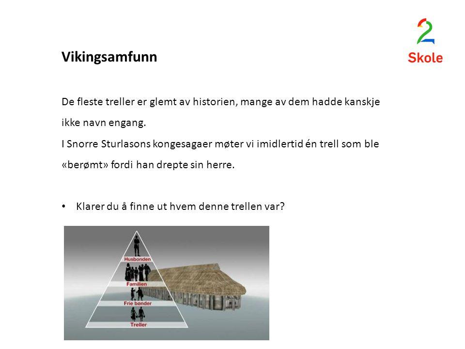 Vikingsamfunn De fleste treller er glemt av historien, mange av dem hadde kanskje ikke navn engang.