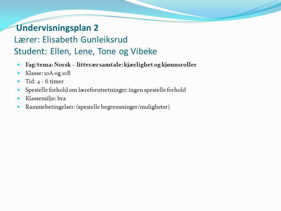 Undervisningsplan 2 Lærer: Elisabeth Gunleiksrud Student: Ellen, Lene, Tone og Vibeke