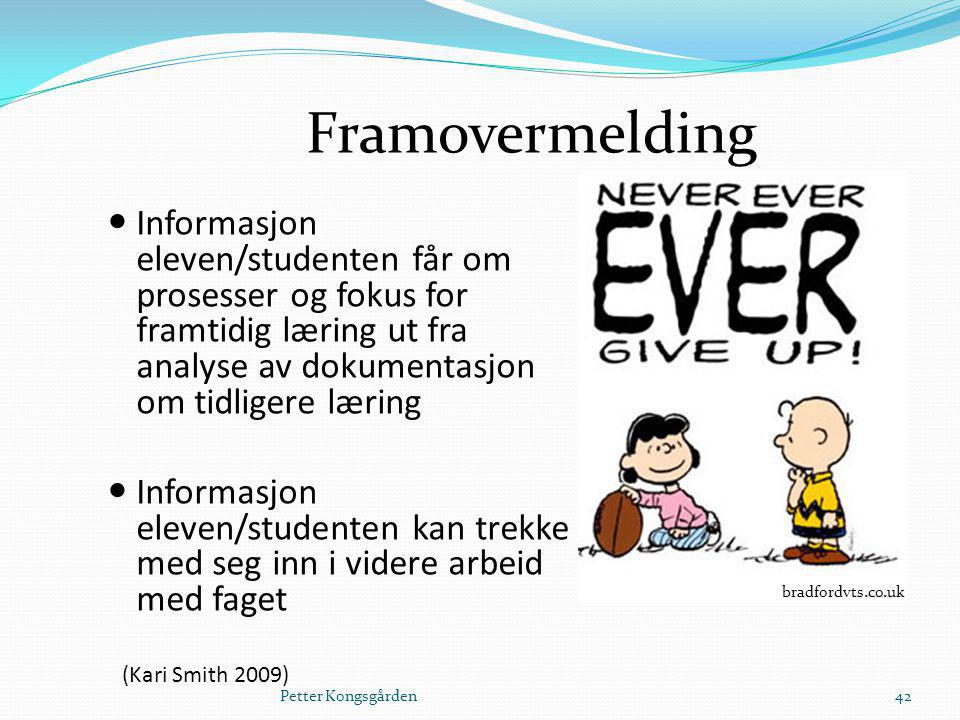 Framovermelding Informasjon eleven/studenten får om prosesser og fokus for framtidig læring ut fra analyse av dokumentasjon om tidligere læring.