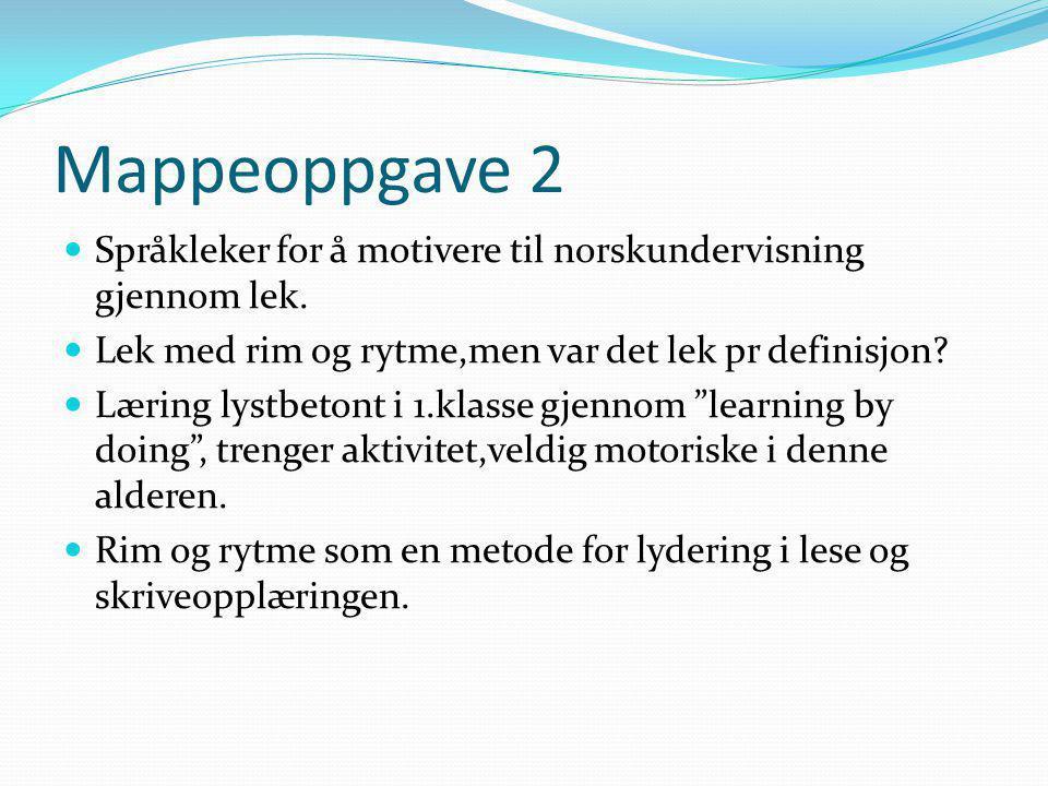 Mappeoppgave 2 Språkleker for å motivere til norskundervisning gjennom lek. Lek med rim og rytme,men var det lek pr definisjon