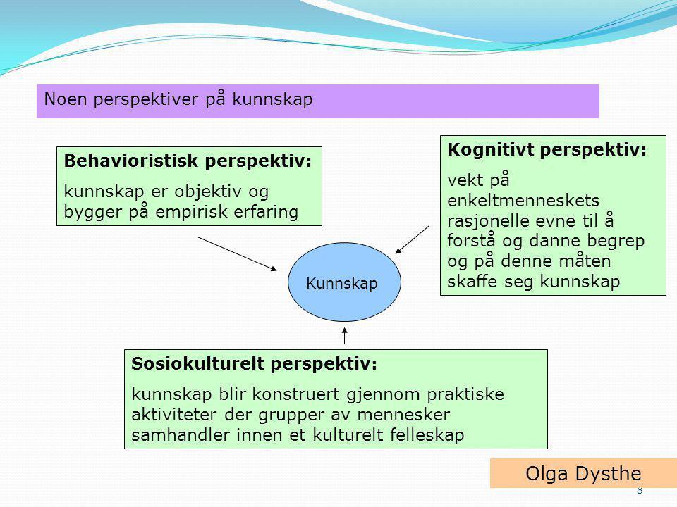 Olga Dysthe Noen perspektiver på kunnskap Kognitivt perspektiv:
