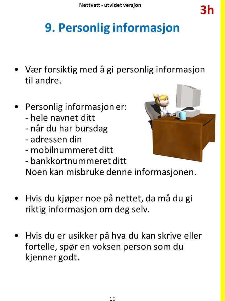 9. Personlig informasjon