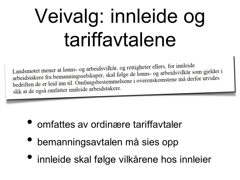 Veivalg: innleide og tariffavtalene