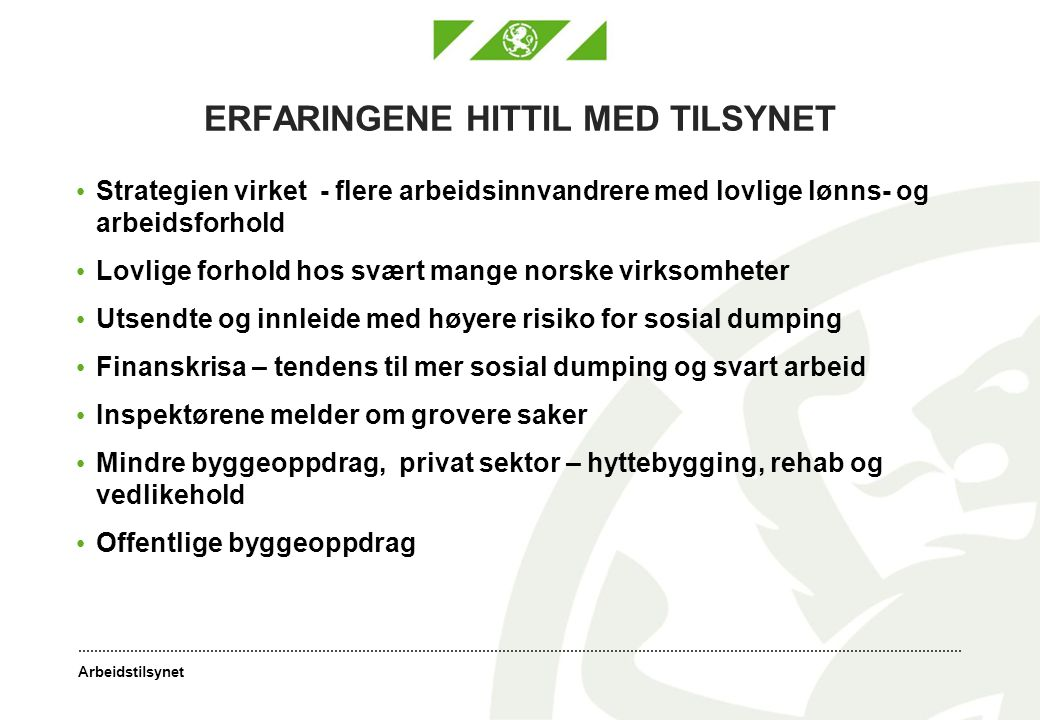 ERFARINGENE HITTIL MED TILSYNET