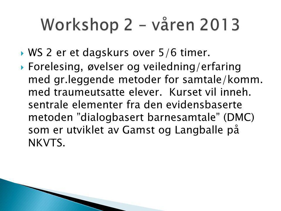 Workshop 2 – våren 2013 WS 2 er et dagskurs over 5/6 timer.