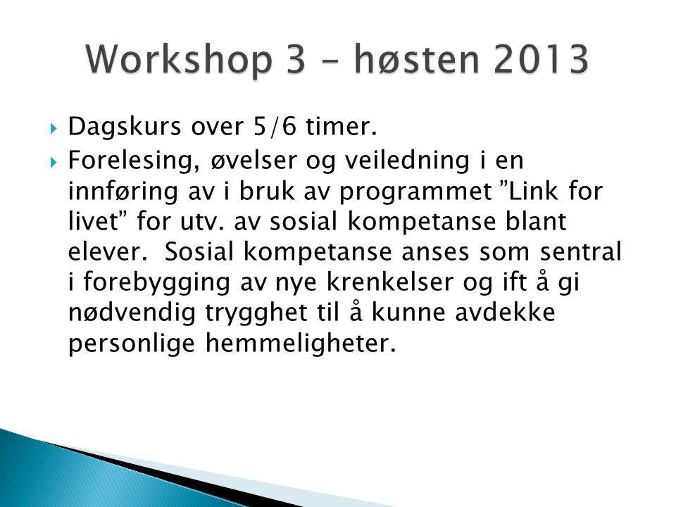 Workshop 3 – høsten 2013 Dagskurs over 5/6 timer.