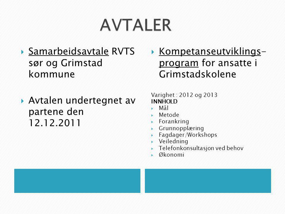 AVTALER Samarbeidsavtale RVTS sør og Grimstad kommune