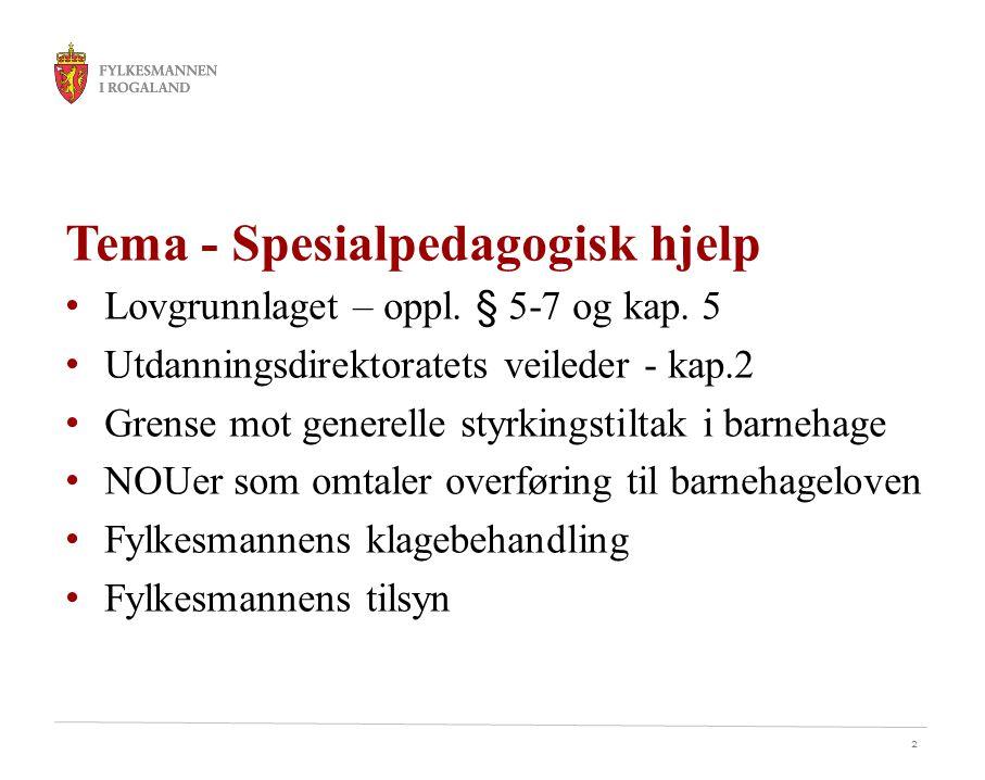 Tema - Spesialpedagogisk hjelp