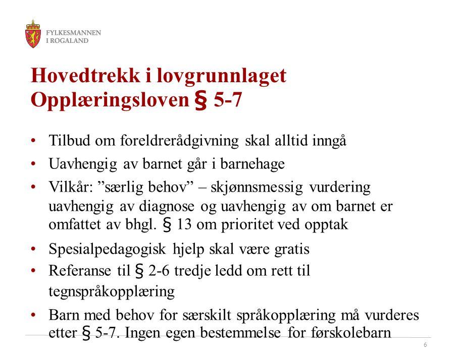 Hovedtrekk i lovgrunnlaget Opplæringsloven § 5-7