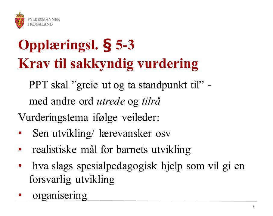 Opplæringsl. § 5-3 Krav til sakkyndig vurdering