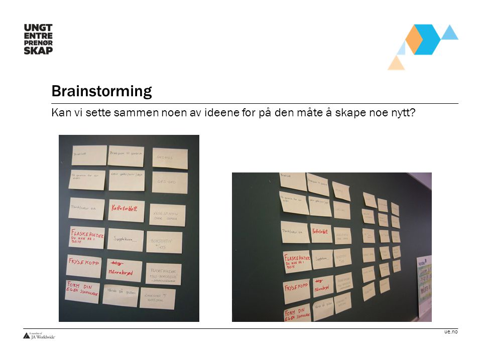 Brainstorming Kan vi sette sammen noen av ideene for på den måte å skape noe nytt