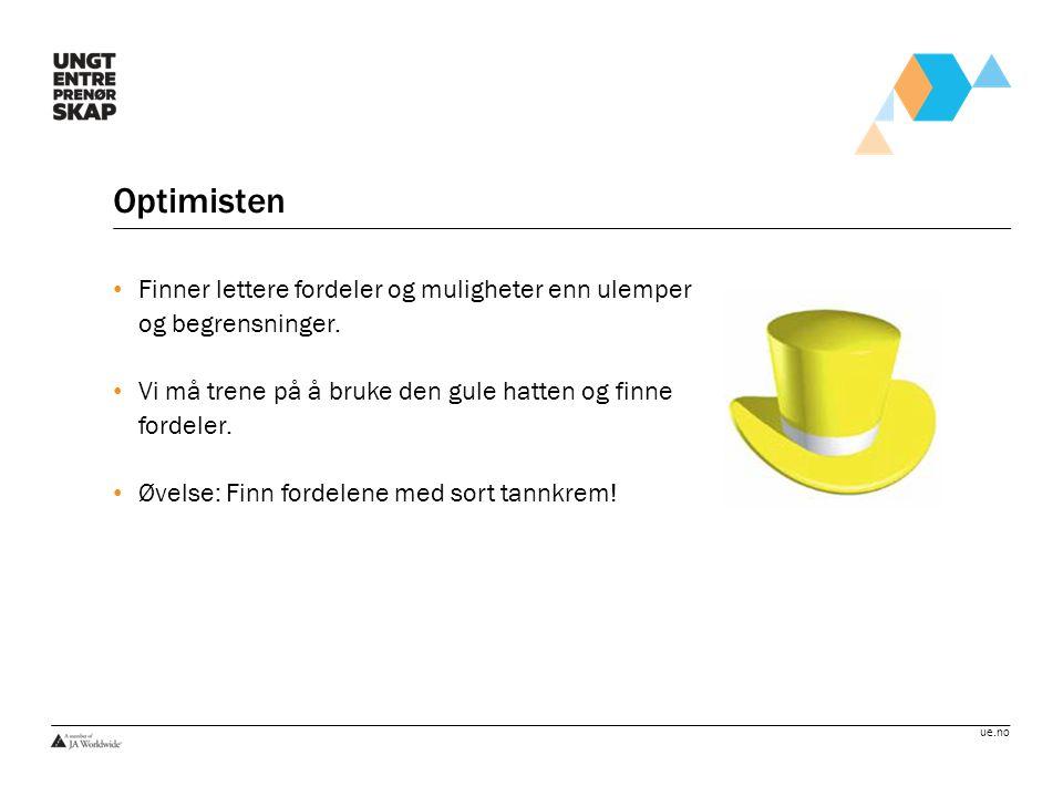 Optimisten Finner lettere fordeler og muligheter enn ulemper og begrensninger. Vi må trene på å bruke den gule hatten og finne fordeler.
